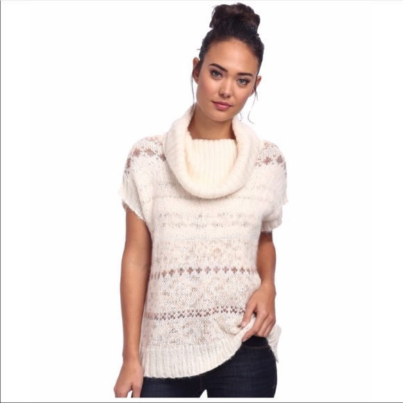 FREE PEOPLE Women/'s Snow Bunny Fair Isle Pullover Knit Vest Sweater tunic Top